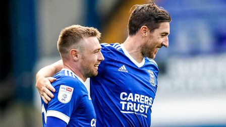Freddie Sears is congratulated by Stephen Ward after scoring to give Town a 1-0 lead on Saturday.