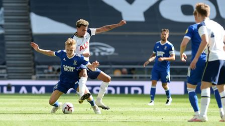 Flynn Downes is fouled by Dele Ali during Tottenham's friendly with Ipswich. Picture Pagepix