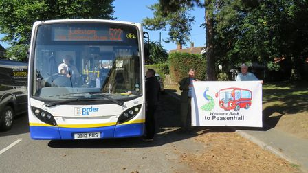Peasenhall residents turned out to celebrate the introduction of the 522 bus service to the village