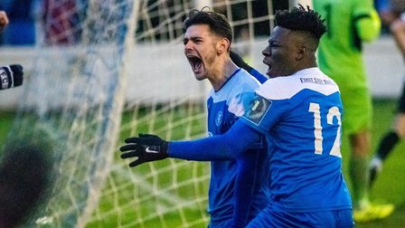 Non-league is back! Here Bury Town's Cemal Ramadan celebrates with team-mate Cruise Nyadzayo (No. 12