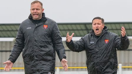 Felixstowe assistant Andy Crump (left) and boss Stuart Boardley, hoping for better this season from