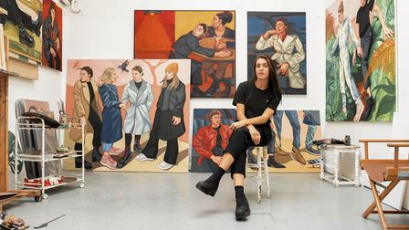 Ania Hobson in her Suffolk studio with her 2020 paintings destined for her first London solo show at