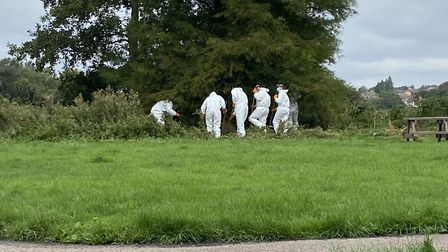 Forensic teams in Sudbury after human remains were found Pictures: ELLA WILKINSON