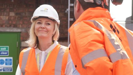 Trade secretary Liz Truss on a visit to Muntons Pictures: BRITTANY WOODMAN