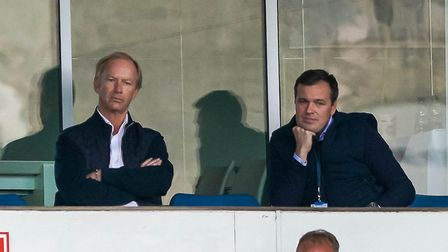 Ipswich Town owner Marcus Evans and general manager of football operations Lee O'Neill look on.
