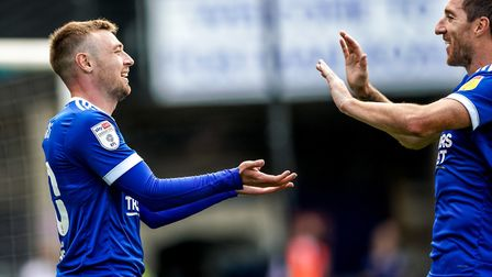 Freddie Sears is congratulated by Stephen Ward after scoring to give Town a 1-0 lead.Picture: