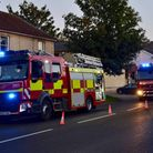 Fire engines outside the George & Dragon in Long Melford following the evacuation triggered by steam