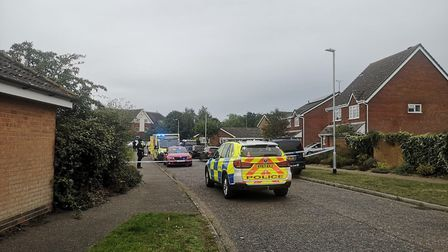 Police have cordoned off parts of Grange Farm in Kesgrave after a shooting Picture: OLIVER SULLIVAN