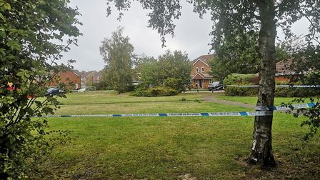 A police cordon has been set up in Through Jollys, Kesgrave Picture: OLIVER SULLIVAN