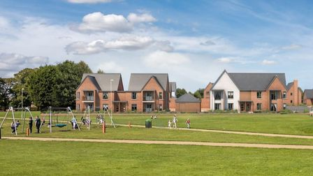 A computer generated image of the Walnut Tree Walk development on the site of the former Stowmarket