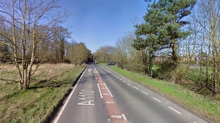 A motorcyclist and a car have collided on the A1101 at Lackford Picture: GOOGLE MAPS