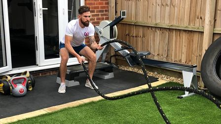 Chris has his own studio gym in his home Picture: Chris Woolener