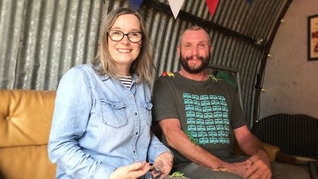 Jenni and Kevin Armstrong in the superbug escape room at Suffolk Escape Rooms. Picture ELLA WILKINSO