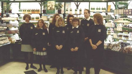 Julie Moody, third from right, with colleagues on the opening day of The Body Shop in Bury St Edmund