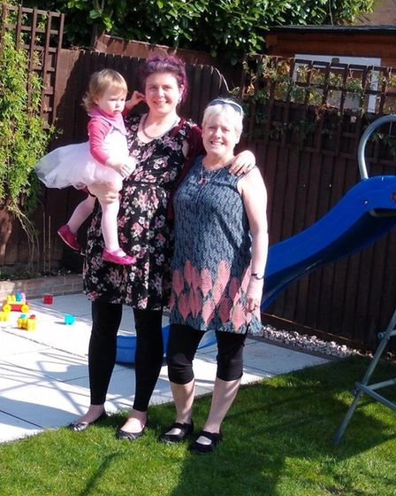 Julie Moody with daughter Nicola and granddaughter Rosie Picture: COURTESY OF MOODY FAMILY