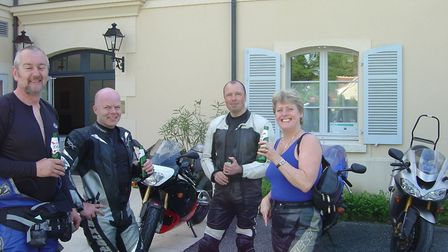 Julie Moody with other bike enthusiasts on a holiday to Nogaro in France in 2006 Picture: COURTESY