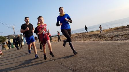 New Year's Day parkrun 2020 on Felixstowe beach - parkruns are set to return next month Picture: AR