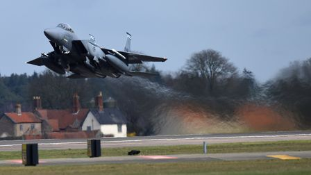 Night flying is expected as F-15E fighter jets from RAF Lakenheath take part in a training exercise.