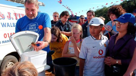 the weight-in at the the British Open Crabbing championships at Walberswick in 2004 Picture: JO