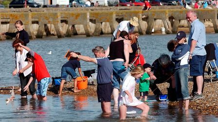 Competitors fishing for crabs in the the British Open Crabbing championships at Walberswick in 200