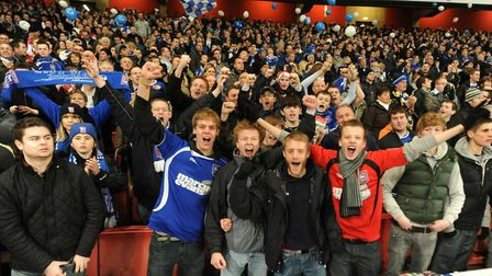 Town fans in good voice at the Emirates for the Carling Cup semi-final second leg tie in early 2011.
