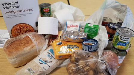 Low income families in Suffolk are having to relying on foodbank parcels like this, which Suffolk Co