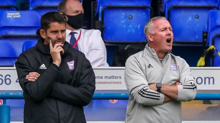 Ipswich Town manager Paul Lambert (right) and his assistant Stuart Taylor. Photo: Steve Waller