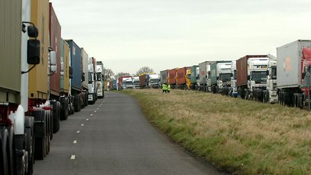 Operation Stack on the old A45 at Levingtion. Could this become a familiar sight again after the Bre