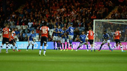 Ipswich Town lost 3-1 at Luton Town in the first round of the EFL Cup last season. Photo: Pagepix