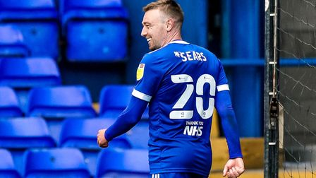 Freddie Sears all smiles after scoring his second and Towns third in the 3-0 victory over Bristol Ro