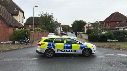 Police remained at the scene of the shooting in Kesgrave for several hours Picture: SAM RUSSELL/PA