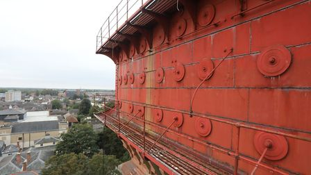 A giant cherry picker was brought in to carry out urgent surveys on Colchester's Jumbo water tower.