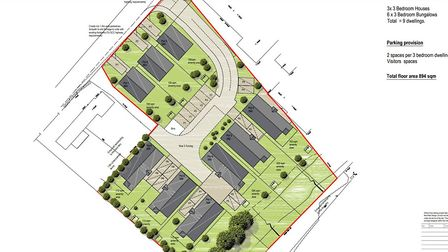 Housing plans for the Cats Lane site at Great Cornard near Sudbury. Picture: BABERGH DISTRICT COUNCI