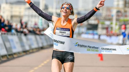 Helen Davies, on her way to victory at the Brighton Marathon last year, completing a hat-trick of Br