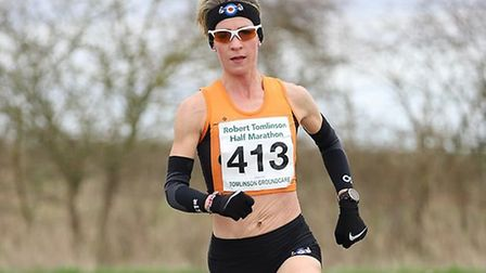 Helen Davies on her way to third overall and first lady at the Stowmarket Half-Marathon. Picture: DE