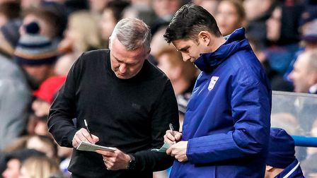 Ipswich Town manager Paul Lambert and his assistant manager Stuart Taylor. Photo: Steve Waller
