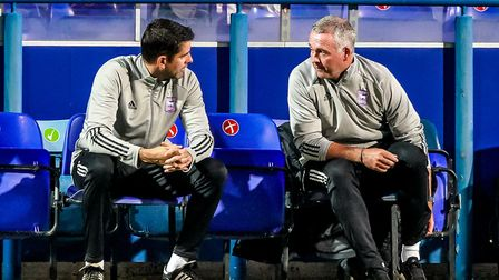 Ipswich Town manager Paul Lambert (right) and his assistant Stuart Taylor watch Tuesday's night's 2-