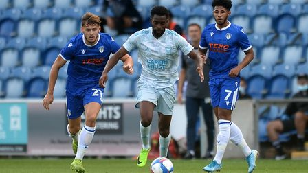 Kane Vincent-Young on the attack for Ipswich Town at Colchester Picture: RICHARD BLAXHALL