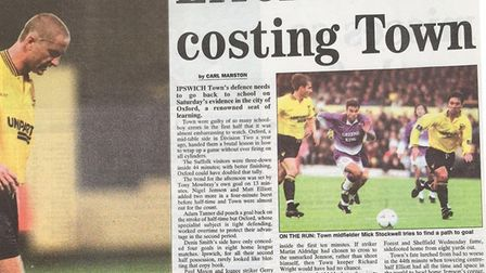 Flashback: the newspaper cutting from Carl Marston's report of Town's defeat at Oxford in 1996