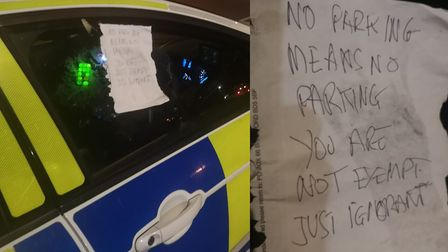 Halesworth police officers were disappointed to find a note on their car criticising parking on doub