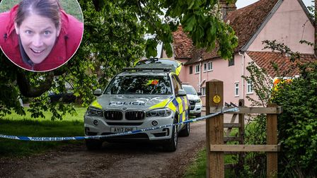 A police cordon in place at the scene of a shooting in Barham where Silke Hartshorne-Jones (inset) w