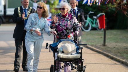 Joan Rich with her daughter Diane entered the park to a round of applause Picture: SARAH LUCY BROWN