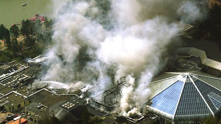 The 2002 fire in Elveden Forest threatened the future of the Suffolk holiday park Picture: ANDY ABBO