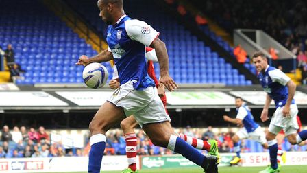 David McGoldrick prepares to score Town's third and his second in injury-time against Middlesbrough,