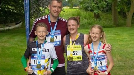 Heydd with her husband Darren and children Rhys and Brooke. Picture: DAVIS FAMILY