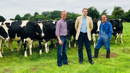 Dr Dan Poulter visited farmers Andrew and John Bullock at their farm in Cotton in 2018, Picture: Off