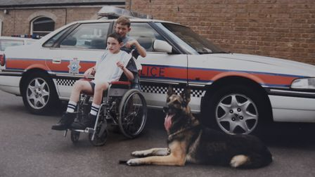 Ben Mallia, on a visit to Bury St Edmunds Police Station with his younger brother Scott. Ben died fr