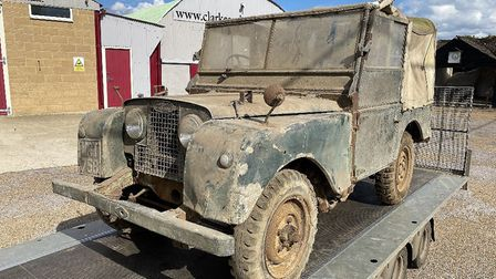The dusty Land Rover Series 1 vehicle outside the Clarke and Simpson auction house in Campsea Ashe P