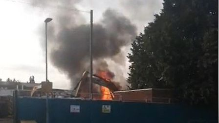 The fire started in a pile of rubbing on the school grounds shortly before 5.20pm. Picture: ROLAND E