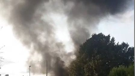 The fire started in a pile of rubbish on the school grounds shortly before 5.20pm. Picture: ROLAND E